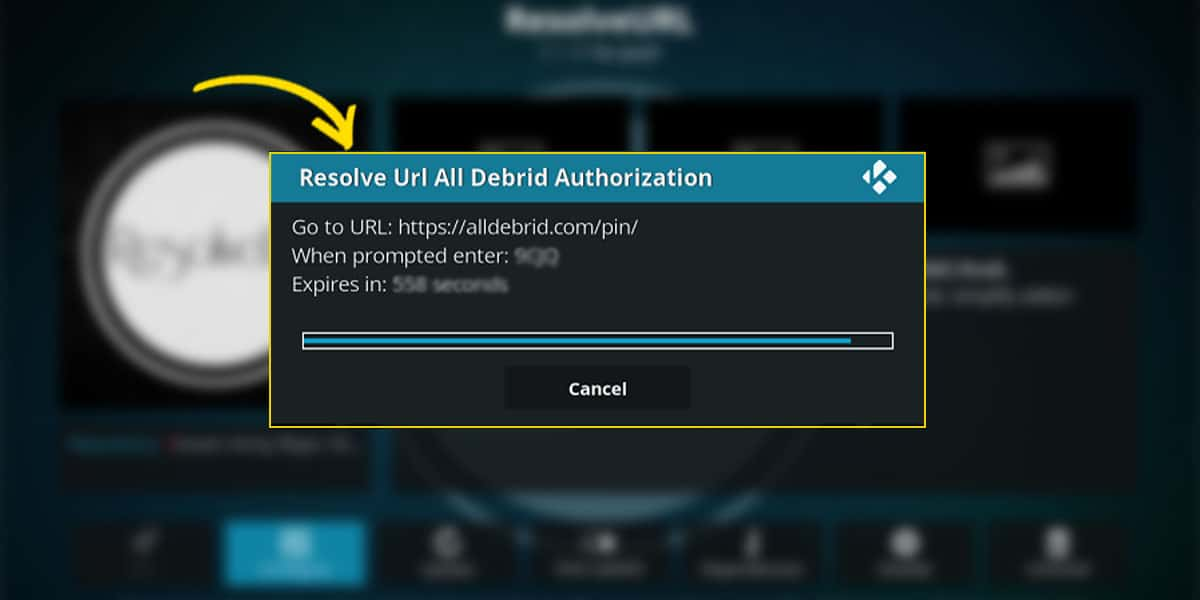 The ResolveURL temporary code for AllDebrid, after you click on (Re)Authorize my account