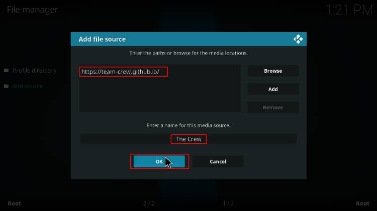 Enter the source URL to install the Crew Repo containing the Marvel Universe Kodi addon