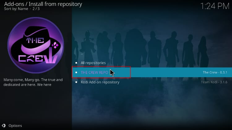 Select The Crew Repo to install DC Universes addon on Kodi