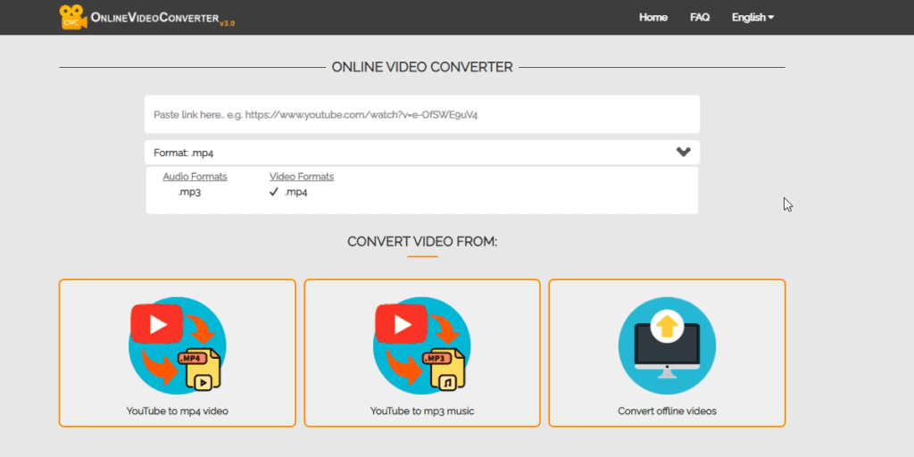 Online Video Converter provides exactly what it advertises: convert videos to MP3 or MP4 format