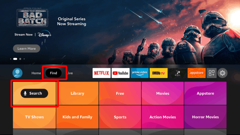 Firestick Home Screen - Search Functionality