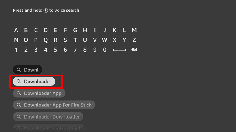 Searching Downloader on Firestick