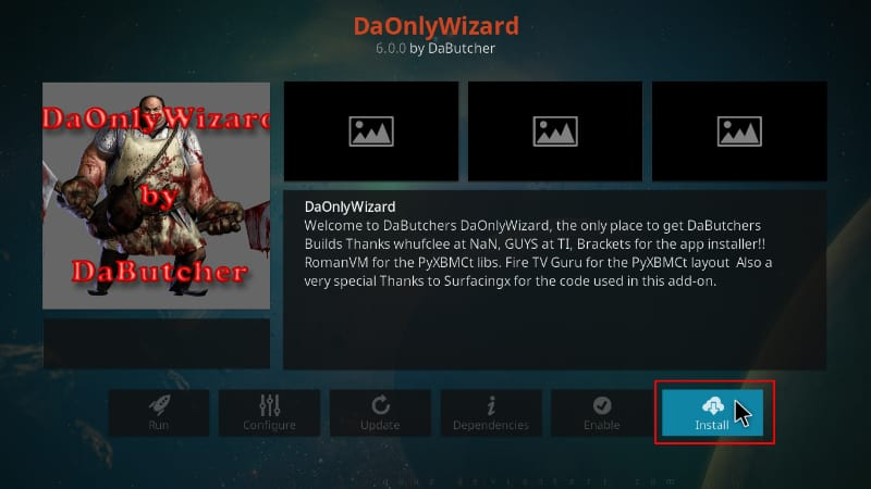 click install DaOnlyWizard