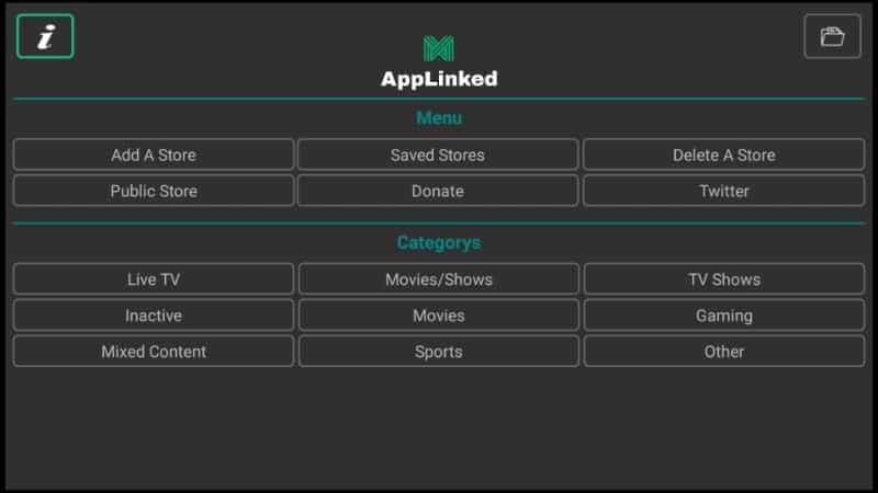 AppLinked main interface after the install on Firestick or Fire TV